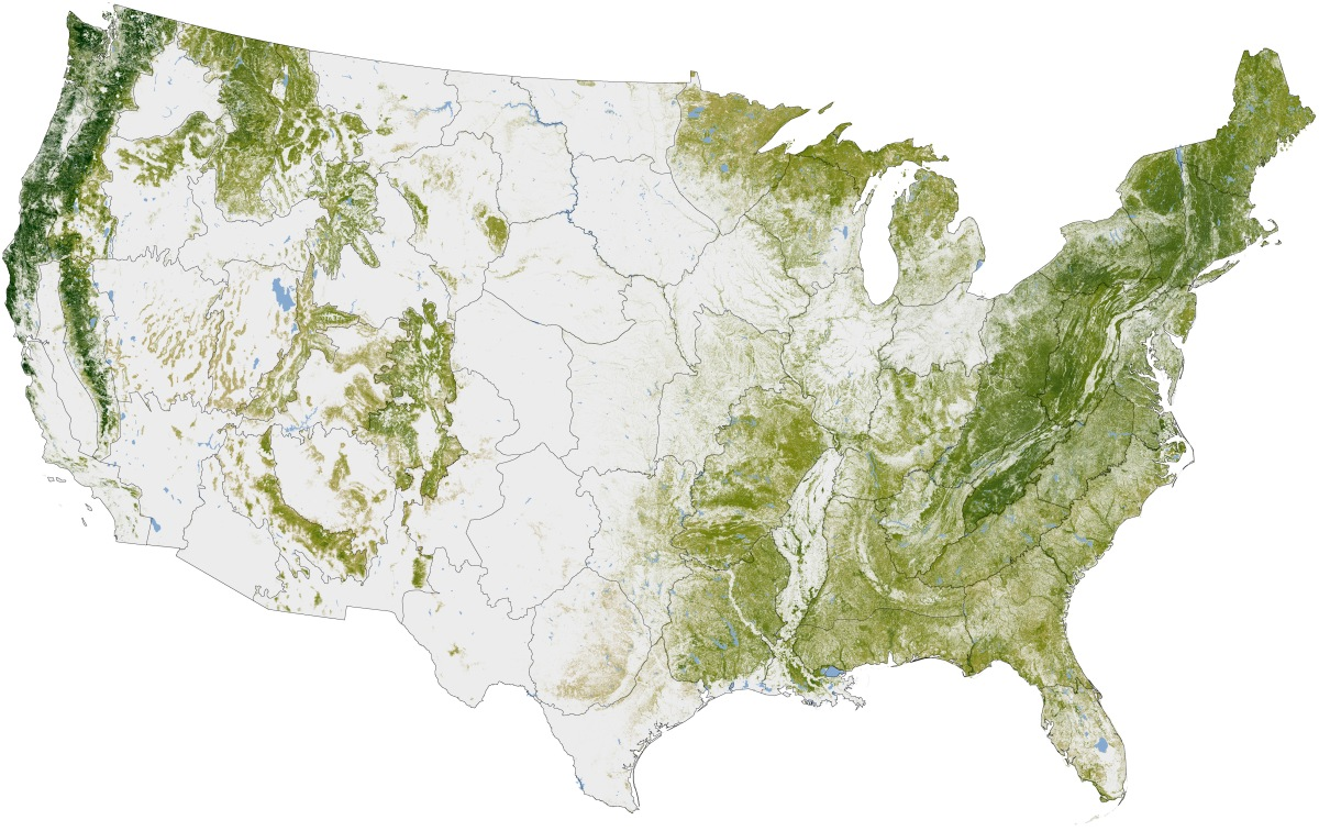 Forest Cover Of The United States The Natural History Log - Us vegetation map